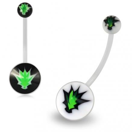 Marijuana Transparent BioFlex with UV Ball Top pregnancy Belly Ring
