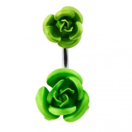 Metal Rose Spinal Belly Button Ring