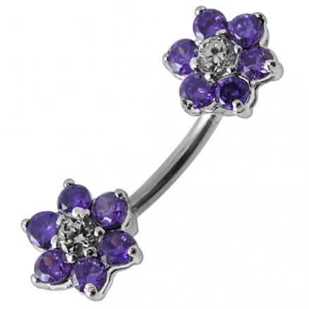 Jeweled Mini Flowers Spinal Belly Button Ring