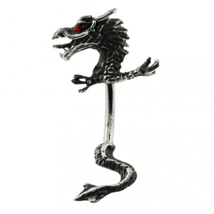 Red eyed antique dragon spinal belly ring