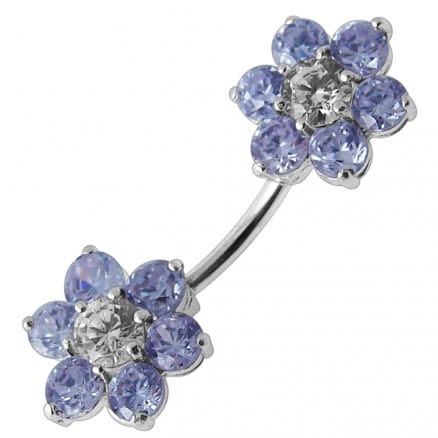 Jeweled Twin Flowers Spinal Belly Button Ring