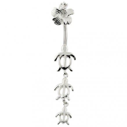 Turtles Dangling Spinal Belly Button Ring