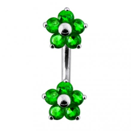 Twin Flowers Spinal Belly Button Ring