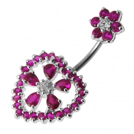 Jeweled Heart Flower Spinal Belly Button Bar