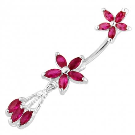 Twin Flower Floral Spinal belly button ring