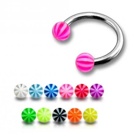 CBB Eyebrow Lip Piercing Ring With Multi Color UV Balls