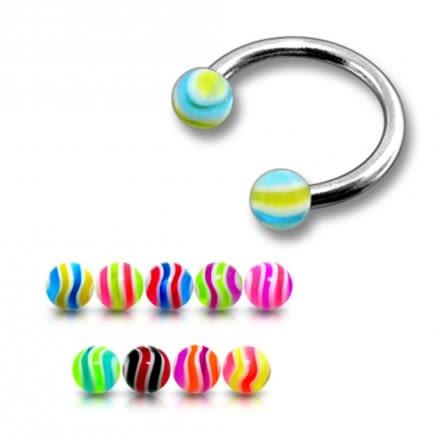SS Circular Barbells Horseshoe With 3mm Multi Color UV Balls