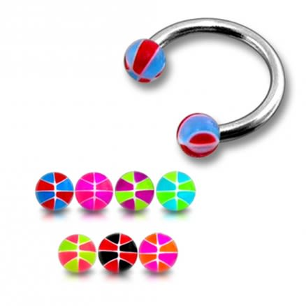 SS Circular Barbells Horseshoe Ring With Beach Color UV Balls
