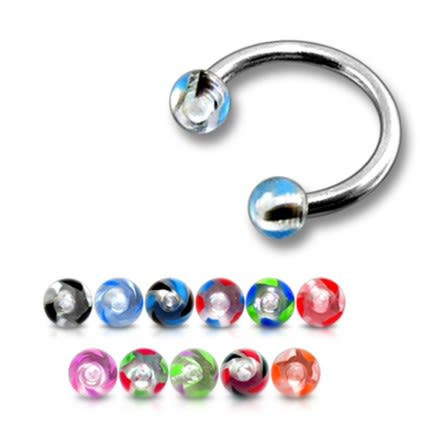 Assorted Color 316L Surgical Steel Circular Barbell with 3MM UV Balls