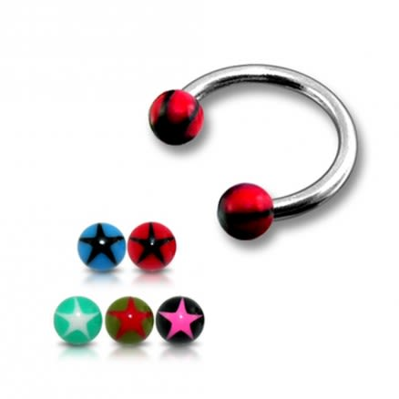 SS Circular Barbells with 5mm Red UV Black Star Print Balls