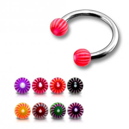 SS Circular Barbells Ring with Red Color UV Spiral Balls