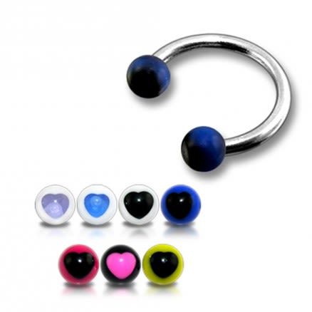 SS Circular Barbells with Dark Blue UV Black Star Print Balls