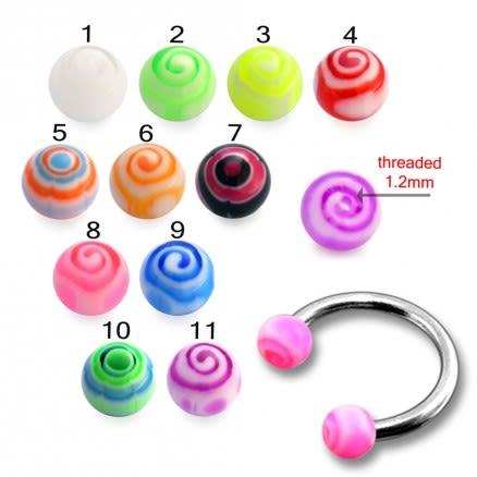 SS Circular Lip Eyebrow Barbells with Pink UV Balls Ring