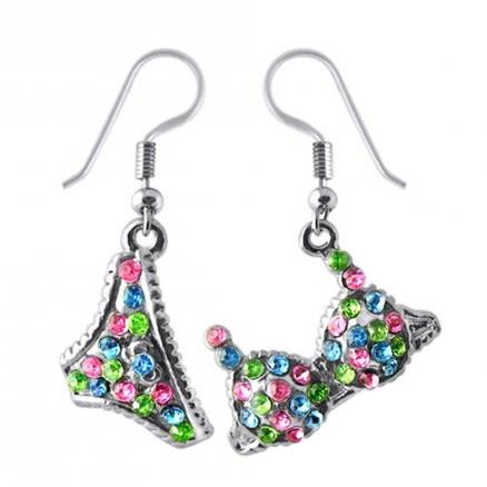 Multi Crystal Dangling Bra Penti Earring Set