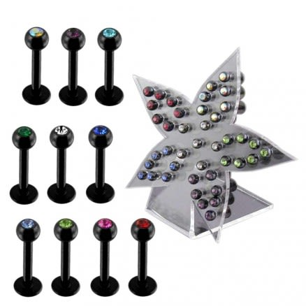 Anodized Labret with 3mm Gems Ball Body jewelry In a Display