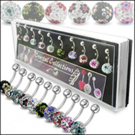 Crystal Stone Flower Belly Rings in Display