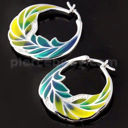 Micro jeweled CZ Colorful Enamal Leaf Sterling Silver Ear Hoop Ring