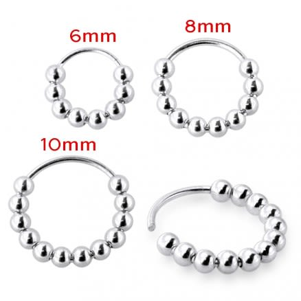 925 Sterling Silver Multiple Bead Ball Nose Hoop Ring