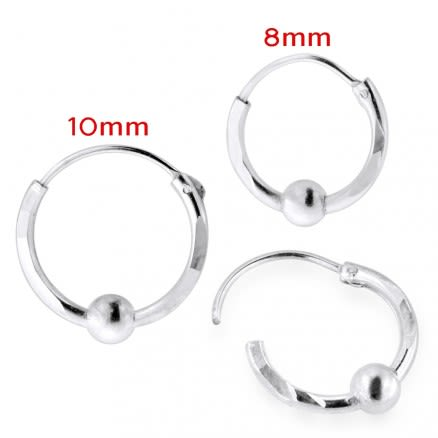 925 Sterling Silver Laser Cut With Bead Ball Nose Hoop Ring
