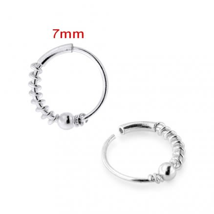 925 Sterling Silver Spring with Bead Ball Nose Hoop Ring