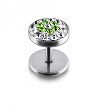 Green And White Crystal Stone SS Ear Stud Earring