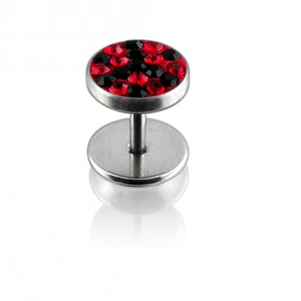 Crystal Stone in Red And Black Combination SS Ear Plug