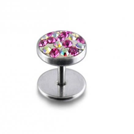 316L SS Pink Multi Crystal Stone Stud Earring
