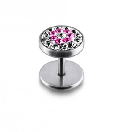 Pink And White Crystal Stone Steddued Ear Plug