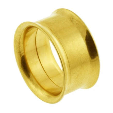 Gold Anodised Internally Threaded Ear Flesh Tunnel