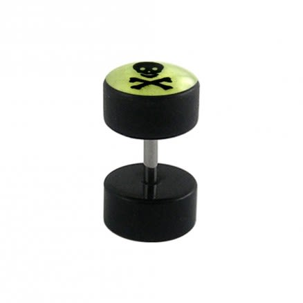 Fake Ear Plug with Glow in the Dark Logo