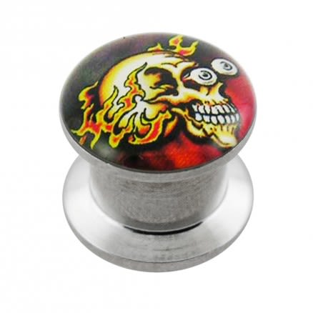 Internally threaded Firing Skull Logo Ear Flesh Tunnel