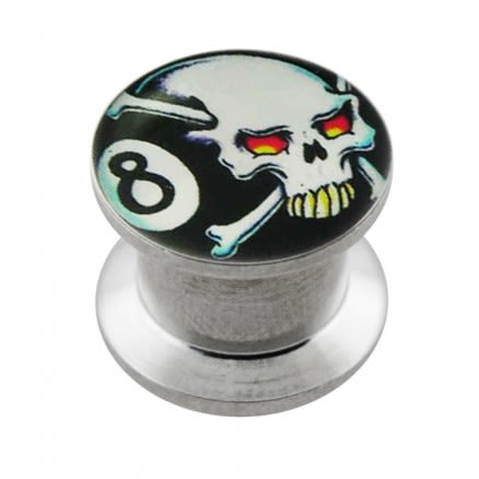 Internally threaded Skull Logo Ear Flesh Tunnel