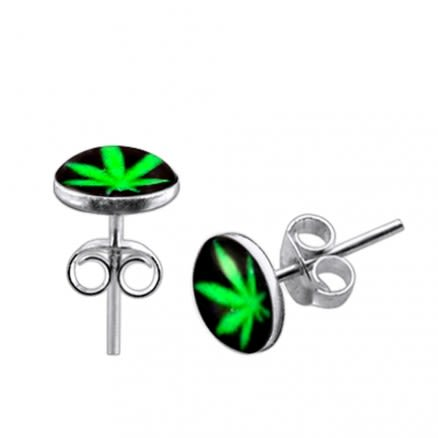 Green Marijuana Logo Silver Ear Stud