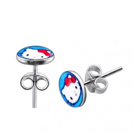 Hello Kitty Logo Silver Ear Stud