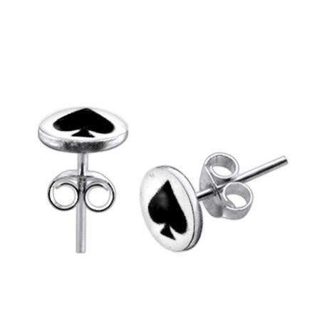 Spade Logo Silver Earring