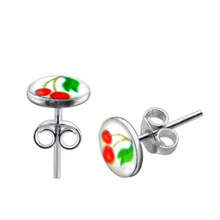 Cherry Logo Silver Earring
