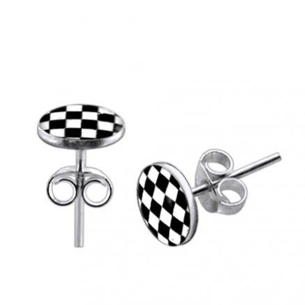 Checker Logo Silver Earring