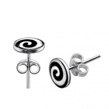 Spiral Logo Silver Earring