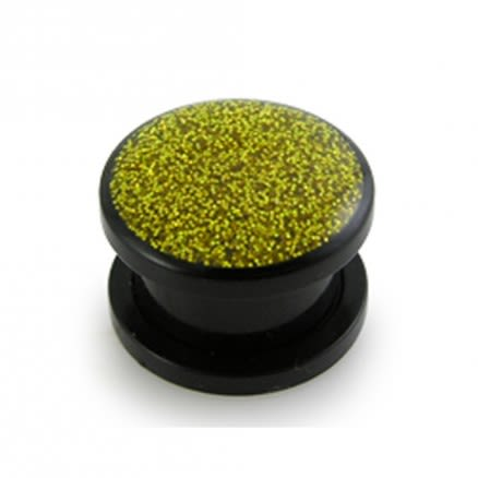 UV Yellow Glitter Screw Fit Ear Flesh Tunnel Expander