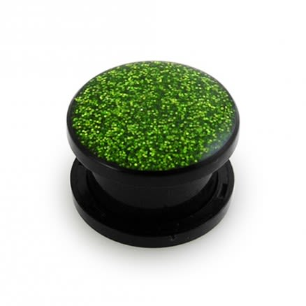 UV Green Color Glitter Screw Fit Ear Flesh Tunnel