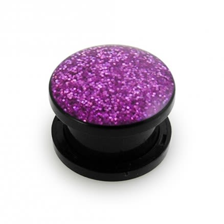 UV Purple Glitter Screw Fit Ear Flesh Tunnel