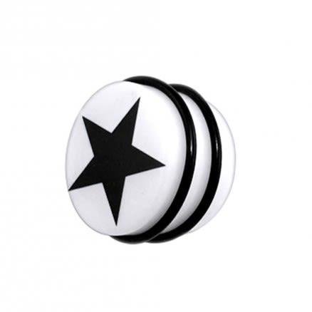 UV Fancy Black Star Ear Stud  with 'O' Ring EAR906
