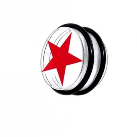 UV Fancy Red Star Ear Plug with 'O' Ring EAR908