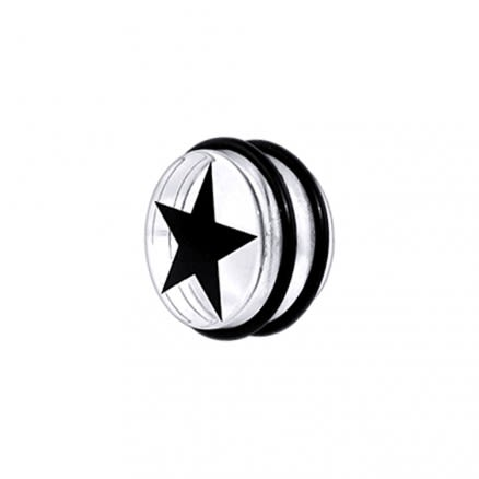 UV Fancy Black Star Ear Plug with 'O' Ring EAR909