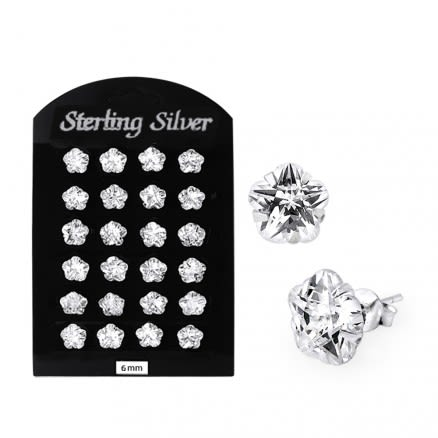 6MM CZ Flower Ear Stud in 12 pair Tray