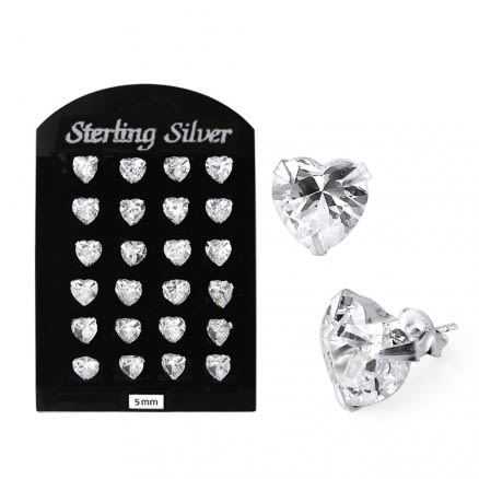 5MM CZ Heart Ear Stud in 12 pair Tray