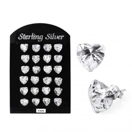 7MM CZ Heart Ear Stud in 12 pair Tray
