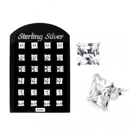 6MM CZ Square Ear Stud in 12 pair Tray