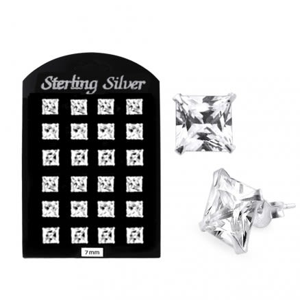 7MM CZ Square Ear Stud in 12 pair Tray