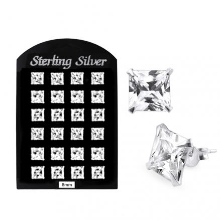 8MM CZ Square Ear Stud in 12 pair Tray
